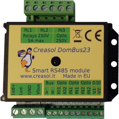 Creasol DomBus23: Smart Home RS485 module with 2x relays, 1x mosfet with dimming function, 2x I/Os, 2x 0-10V analog outputs that can be configured as open-drain outputs, 2x 12/24V opto inputs, 1x 230V opto input