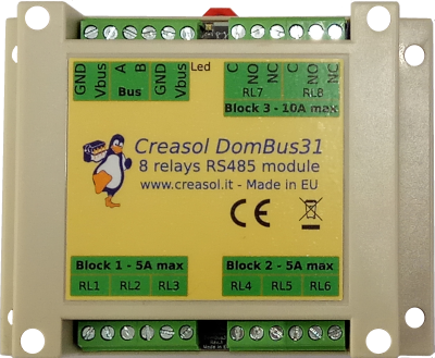 Creasol DomBus31: 8 relays module for home automation system, with very low power consumption