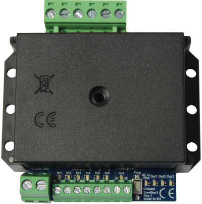 creDomBus1 domoticz rs485 board with 3 relays output, 1 AC input and 6 inputs.