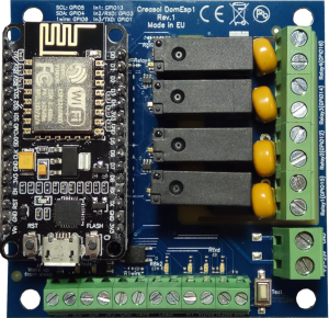 Creasol DomESP1 and DomESP2: Input/output/supply board for ESP8266 module
