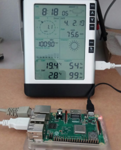 USB weather station connected to Raspberry PI and Domoticz